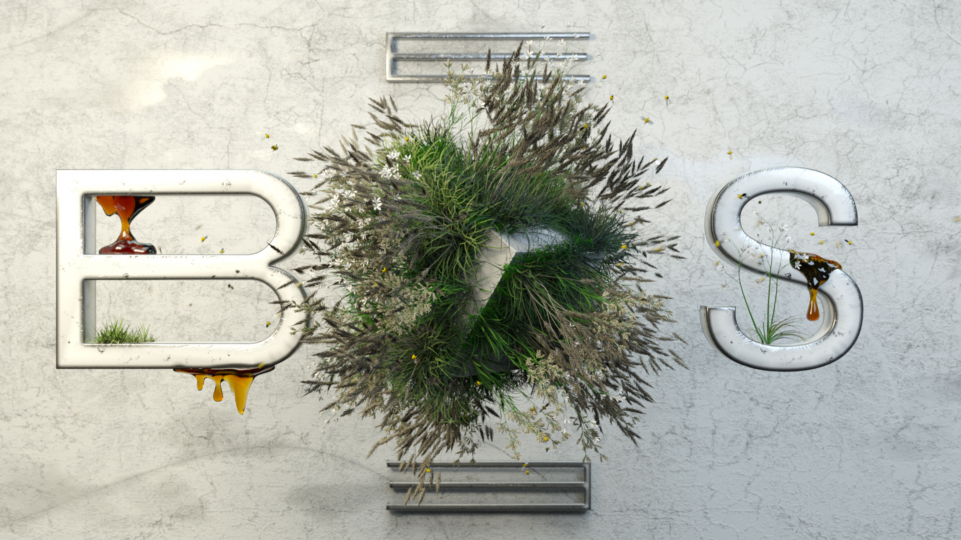 Gras and Bees with 3D Logo