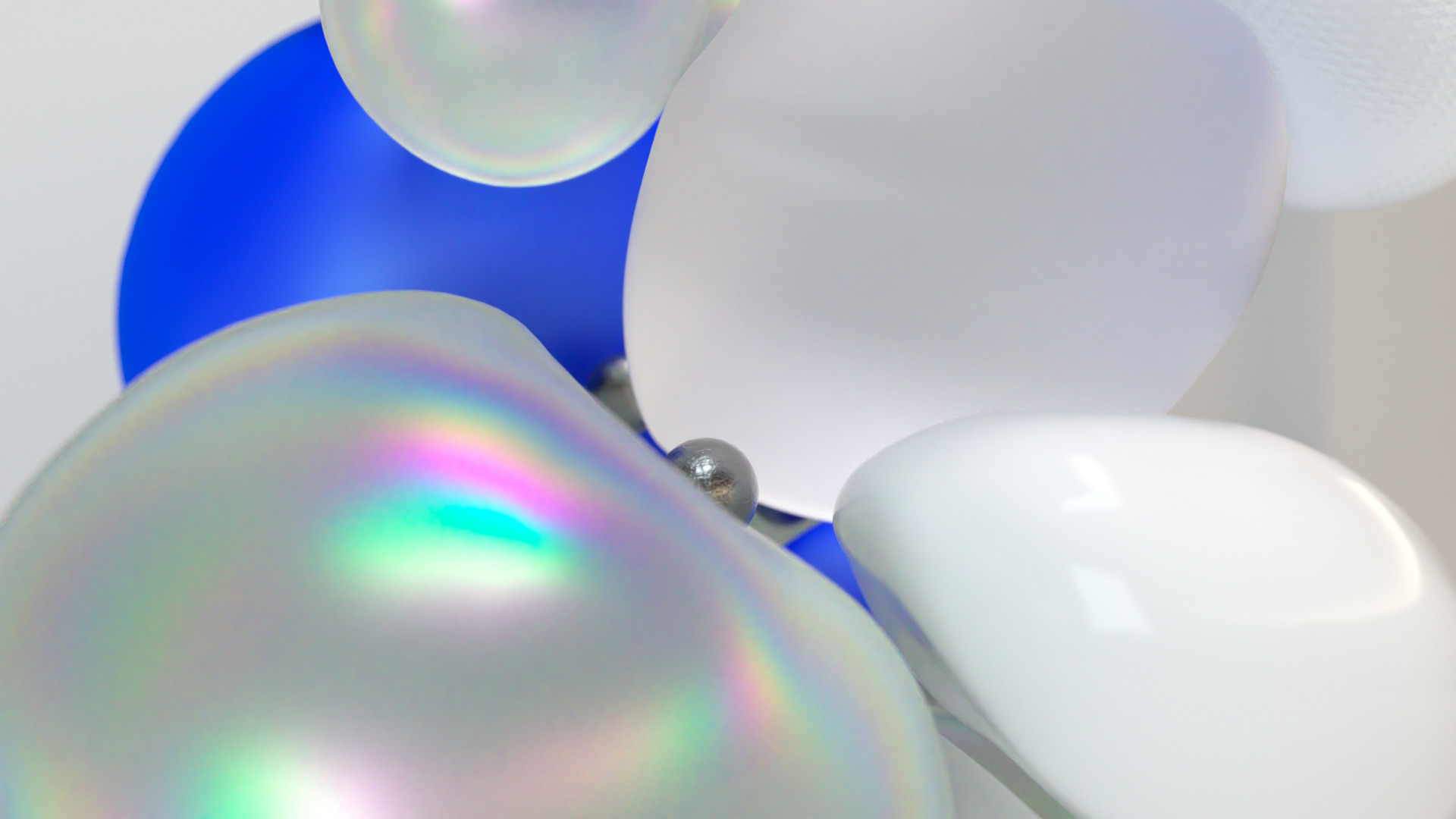 Blue, reflective, white Bubbles and Balls