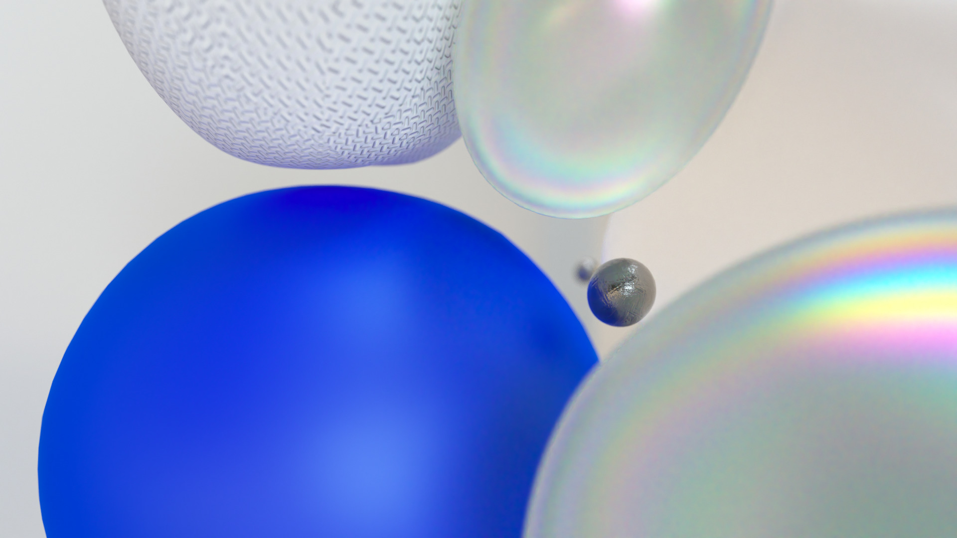 Blue, reflective, white Bubbles and Balls 01
