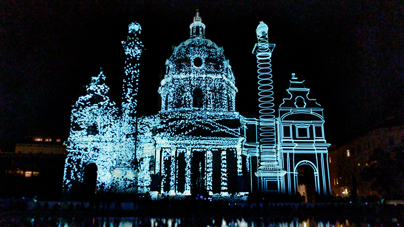 Intel 3D Tour - Projection Mapping - Karskirche Wien